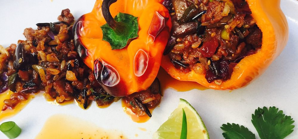spicy chorizo vegetable stuffed peppers