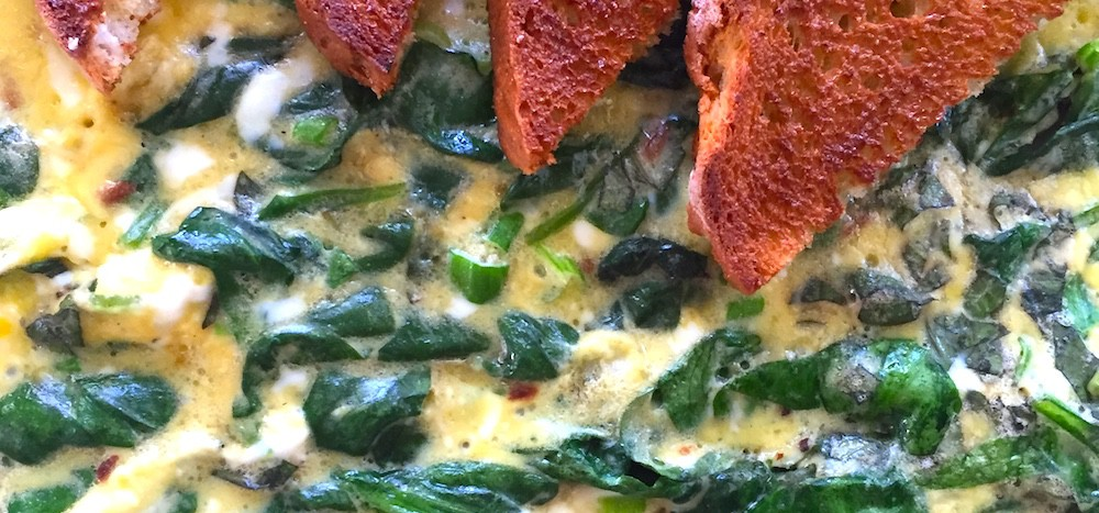spinach and basil frittata