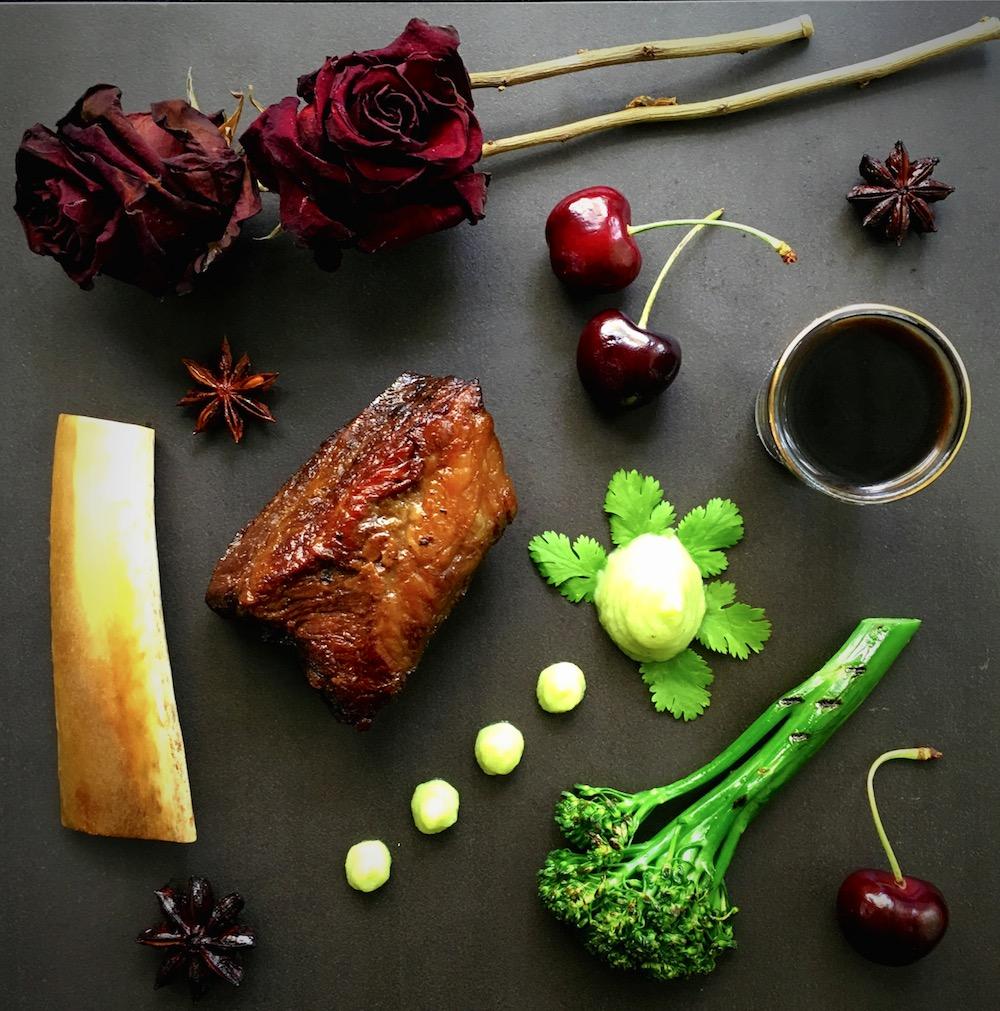 asian-short-rib-coriander-cauliflower-puree-chinese-broccoli-fresh-cherries-broth-stout-reduction
