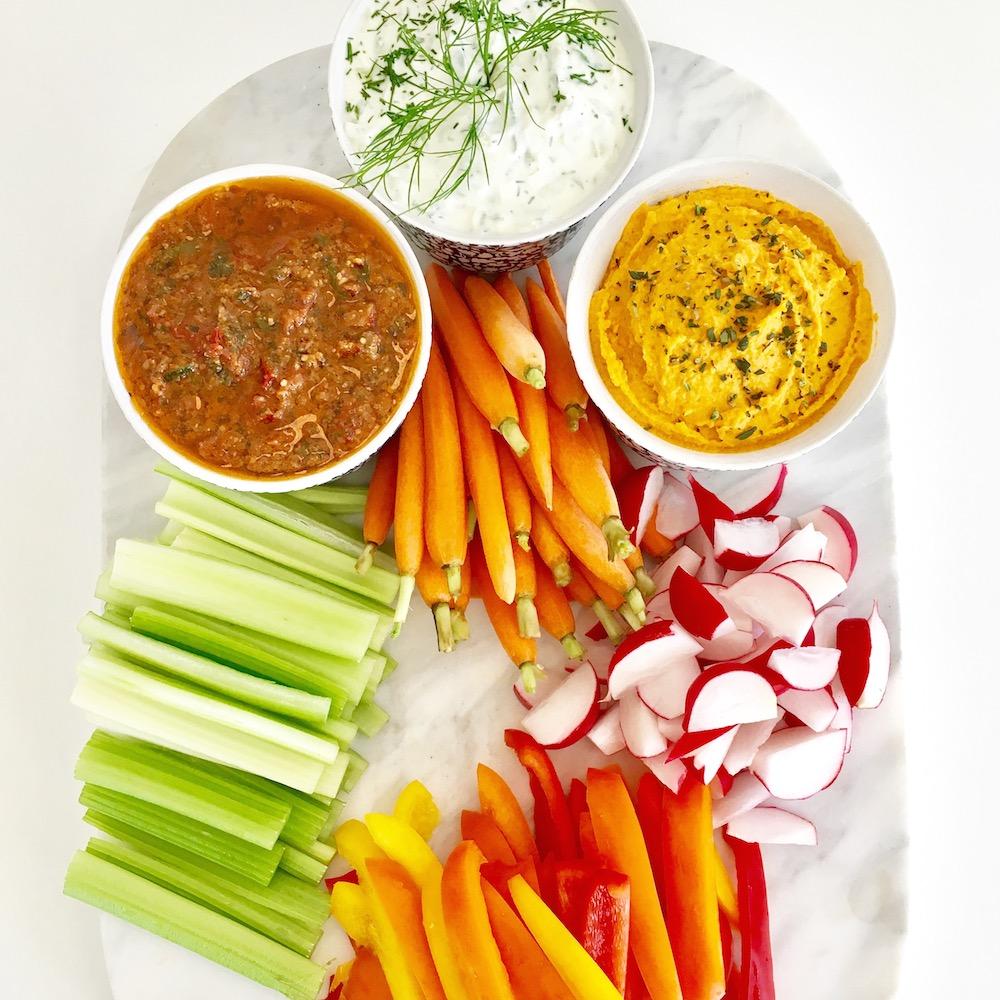 Crudité-with-3-dips-Tzatziki-Roasted-Carrot-&-White-Bean-Sun-dried-Tomato