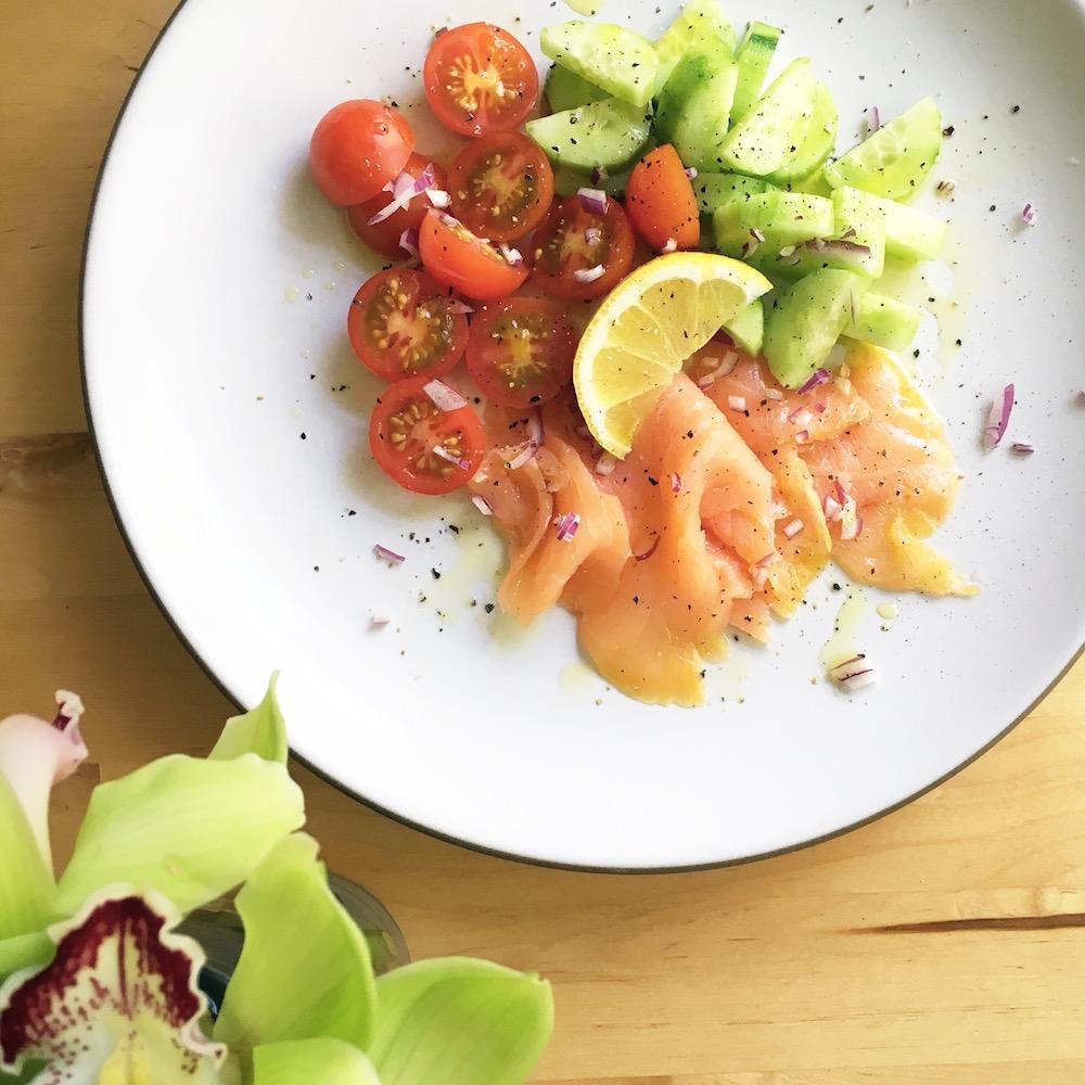 Smoked-Norwegian-salmon-with-cucumber-&-plum-tomatoes