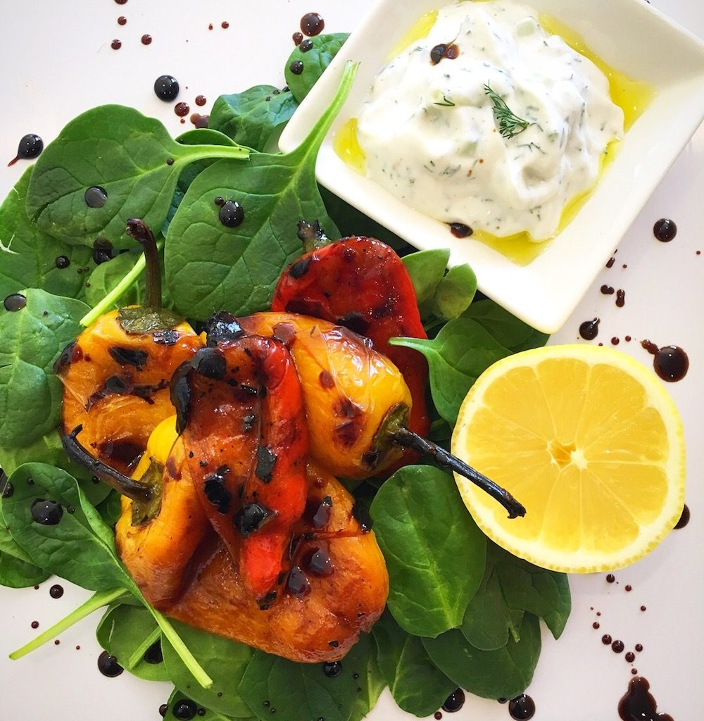 Charred-baby-bell-pepper-salad-with-tzatziki-&-balsamic-reduction