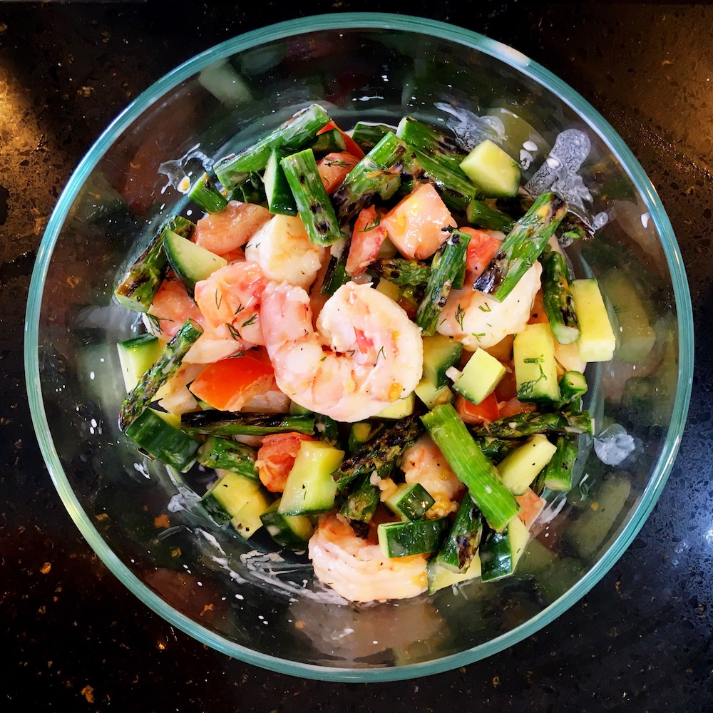 Poached-shrimp-salad-with-tomato-cucumber-grilled-asparagus-dill